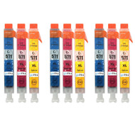 3 Compatible Sets of 3 C/M/Y Canon CLI-571 Printer Ink Cartridges (Colour Set)