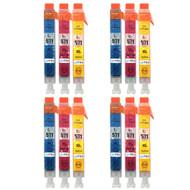 4 Compatible Sets of 3 C/M/Y Canon CLI-571 Printer Ink Cartridges (Colour Set)