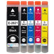 1 non-OEM T2636 (26XL Series) Compatible Set of 5 Epson Printer Ink Cartridges (T2621, T2631, T2632, T2633, T2634)