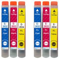 2 non-OEM T2636 (26XL Series) C/M/Y Compatible Set of 3 Epson Printer Ink Cartridges T2632 / T2633 / T2634 (Colour Set)