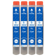 4 Cyan non-OEM Compatible Epson T2632 (26XL Series) Printer Ink Cartridges