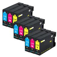 3 Compatible Sets of 3 C/M/Y Canon PGI-1500XL Printer Ink Cartridges (Colour Set)