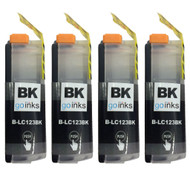 4 Black Compatible Brother LC123 Printer Ink Cartridges
