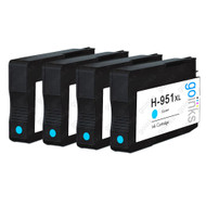 4 Cyan Compatible HP 951C (HP951XL) Printer Ink Cartridges
