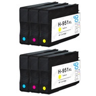 2 Compatible Sets of 3 C/M/Y HP 951 (HP951XL) Printer Ink Cartridges (Colour Set)