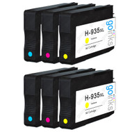 2 Compatible Sets of 3 C/M/Y HP 935 (HP935XL) Printer Ink Cartridges (Colour Set)