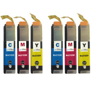 2 C/M/Y Colour Sets of Compatible Brother LC123 Printer Ink Cartridges