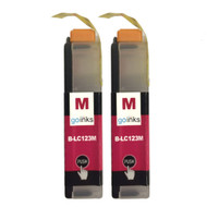 2 Magenta Compatible Brother LC123 Printer Ink Cartridges