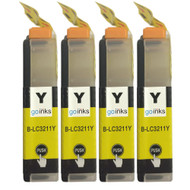4 Go Inks Yellow Ink Cartridges to replace Brother  LC3211Y Compatible/ non-OEM for Brother DCP & MFC Printers