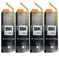 4 Go Inks  Black Ink Cartridges to replace Brother  LC3217BK Compatible/ non-OEM for Brother MFC Printers
