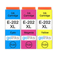1 Go Inks Set of 3 Ink Cartridges to replace Epson 202XL C/M/Y Compatible/non-OEM for Epson Expression Photo Printers (3 Inks)