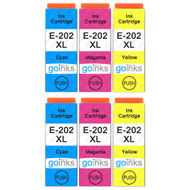 2 Go Inks Set of 3 Ink Cartridges to replace Epson 202XL C/M/Y Compatible/non-OEM for Epson Expression Photo Printers (6 Inks)