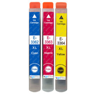 1 Go Inks Set of 3 Ink Cartridges to replace Epson T3557 (33XL Series) C/M/Y Compatible/non-OEM for Epson Expression Home Printers (3 Inks)
