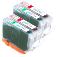 2 Compatible Sets of Canon CLI-8R & CLI-8G Printer Ink Cartridges (Red & Green)