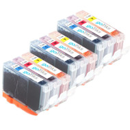 3 Compatible Sets of 3 C/M/Y Canon CLI-8 Printer Ink Cartridges (Colour Set)