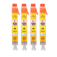 4 Yellow Compatible Canon CLI-571Y Printer Ink Cartridges