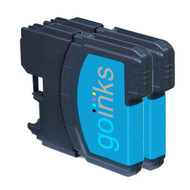 2 Cyan Compatible Brother LC980 / LC1100 Printer Ink Cartridges