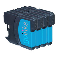 4 Cyan Compatible Brother LC980 / LC1100 Printer Ink Cartridges