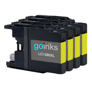 4 Yellow XL Compatible Brother LC1280 Printer Ink Cartridges