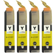 4 Yellow XL Compatible Brother LC125 Printer Ink Cartridges