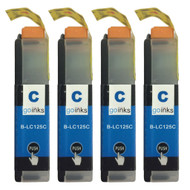 4 Cyan XL Compatible Brother LC125 Printer Ink Cartridges