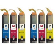 2 C/M/Y Colour XL Sets of Compatible Brother LC125 Printer Ink Cartridges