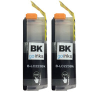 2 Black Compatible Brother LC223 Printer Ink Cartridges