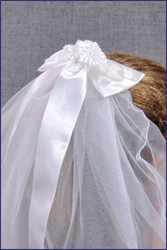 First Communion Veil with Bow and Ribbon