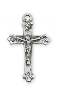 Small Sterling Silver Crucifix with Floral Edges