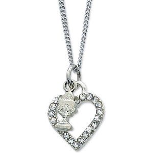 Rhinestone Heart and Chalice Pendant