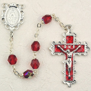 6mm Ruby Deluxe Rosary with Enamel Crucifix