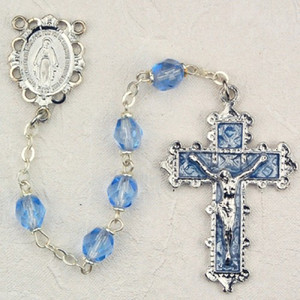 6mm Zircon Deluxe Rosary with Enamel Crucifix