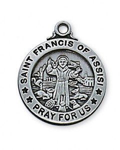 Antique Pewter Saint Francis of Assisi Medal