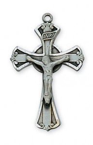 "Antique Pewter Crucifix with 18"" Chain"