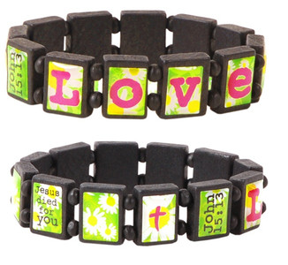 Love Stretch Wood Tile Bracelets