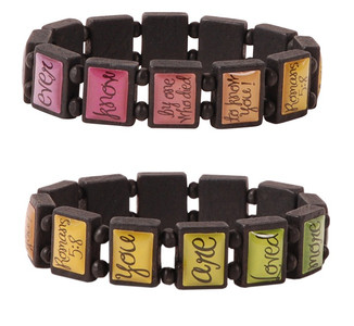 Flowers Stretch Wood Tile Bracelets