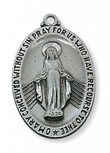Antique Pewter Miraculous Medal- Large