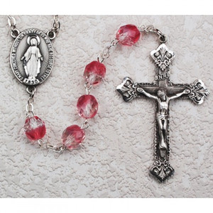 8mm Pink and Clear Crystal Rosary