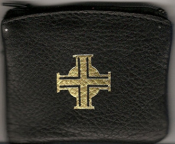 Small Black Bonded Leather Rosary Case