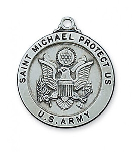 Antique Pewter Saint Michael Medal- Army