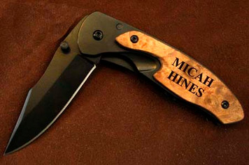 Personalized Black Blade Pocket Knife with Clip