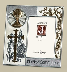 First Communion Frame - Silver/Gold Chalice/Cross Design