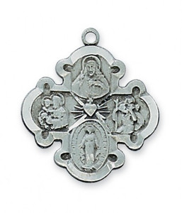 Antique Pewter 4-Way Beveled Medal