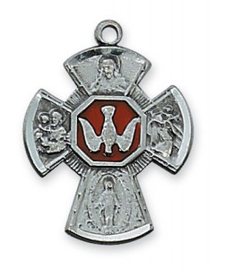 Antique Pewter 4-Way Medal with Enamel Center- Small