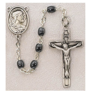 5mm Hematite Pewter Center and Crucifix
