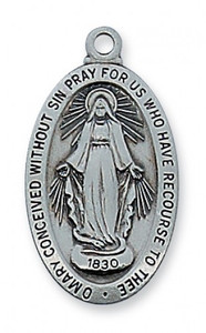 Antique Pewter Miraculous Medal- Traditional