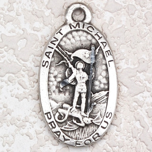 Antique Silver Pewter Oval Saint Michael Medal