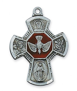 Antique Pewter 4-Way Medal with Enamel Center- Large