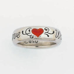 Ladies Large Solid Pewter Heart True Love Waits Ring