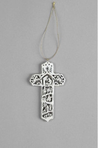 "4"" Antique White Christmas Cross Ornament"